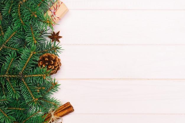 クリスマス、トップビュー、木製のテーブルに設計するため