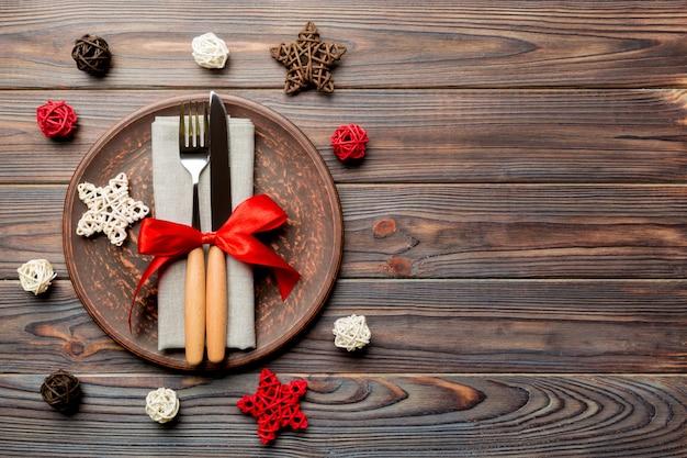 木製の背景にクリスマスディナー