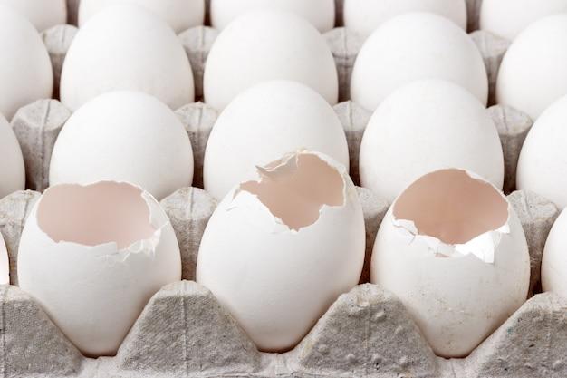 卵のカートン正面図。壊れた卵のパッケージ