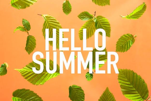 こんにちは、葉と桃のテーブルに書かれた夏。