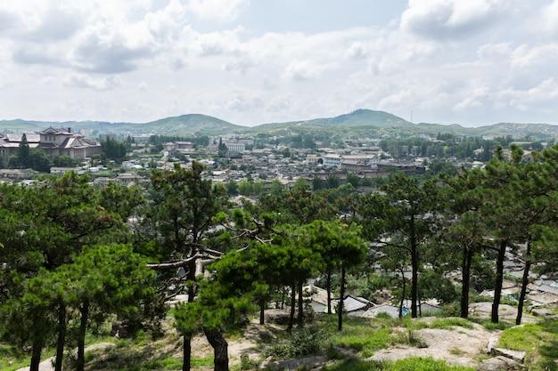 朝鮮、北朝鮮の街の眺め