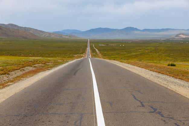 草原、モンゴルのアスファルト道路