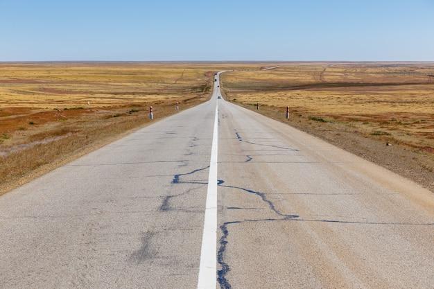 モンゴルの草原のアスファルト道路