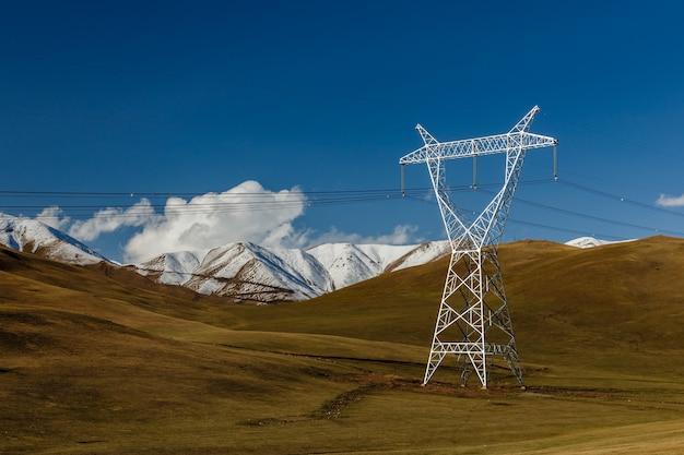 キルギスの高圧送電線。