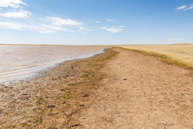 モンゴルの草原の小さな湖