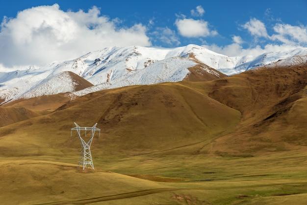 キルギスタンの山の高圧送電線