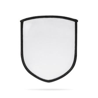 クリッピングパスと孤立した背景に空白のパッチまたは布ラベル。