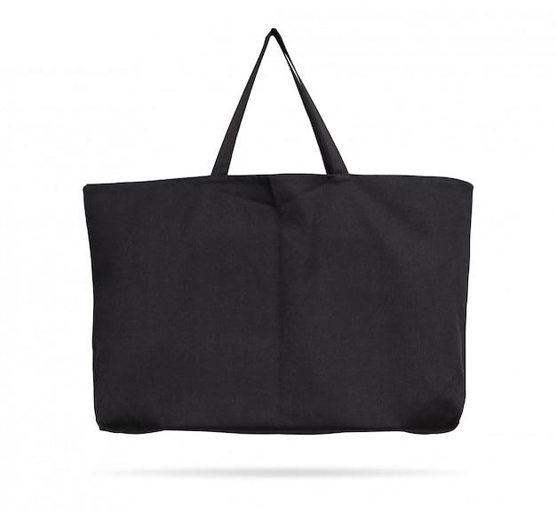 クリッピングパスと孤立した背景に黒い布バッグ。