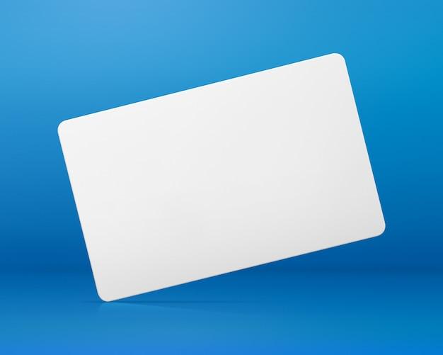 青い背景の空白のカード。デザインの空白の名札。