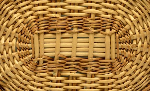 木製のテクスチャやバスケットの背景。木質材料で作られた模様を織ります。ウィッカー