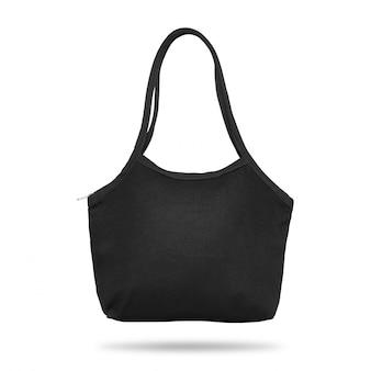 Черная сумка из ткани на белом фоне