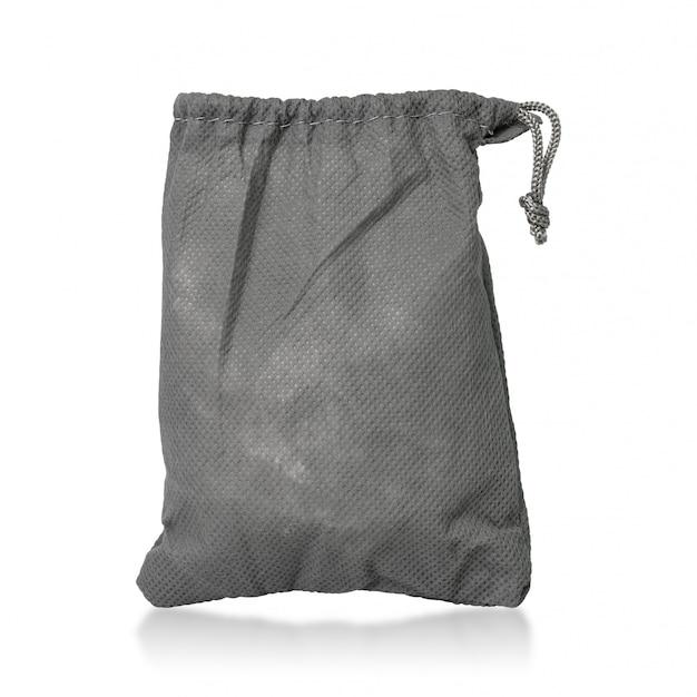 Сумка из ткани на шнурке на белом фоне