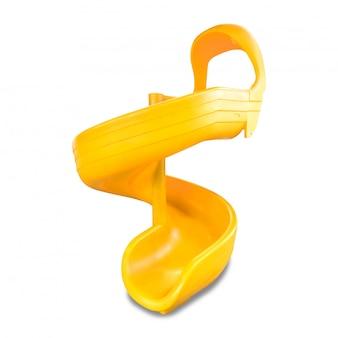 子供のスライドが白い背景で隔離。子供のための黄色のスライディングボード。