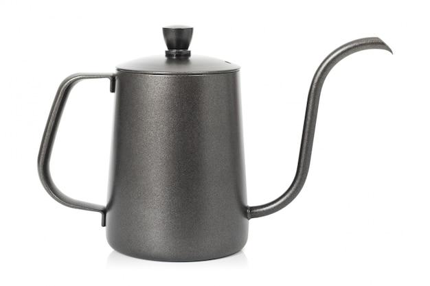 白い背景で隔離のコーヒーポット。ハンドル付きのやかん。