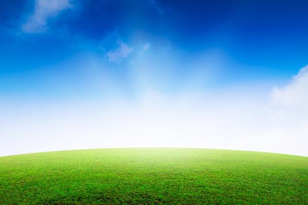 山と素敵な空に緑の芝生のフィールド。