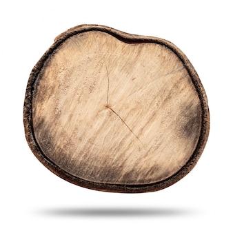 Деревянный пень или бревно на белом фоне