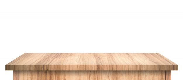 純粋な白で隔離の抽象的なパターンを持つ空の木製テーブル