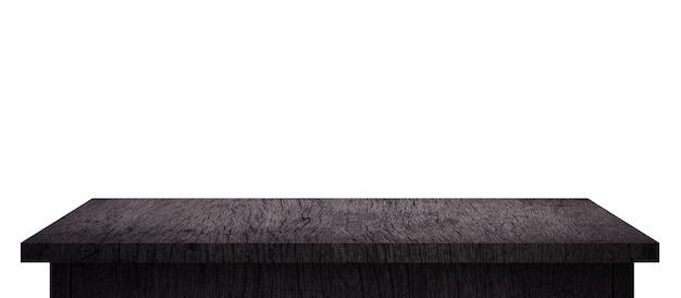 純粋な白で隔離される黒のパターンを持つ空の木製テーブル