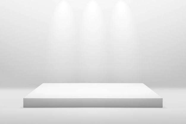 Белый подиум для показа или презентации концепции на фоне современной комнаты с подсветкой