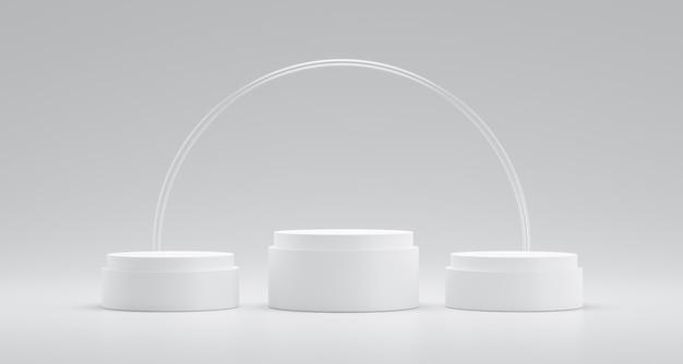 円ガラスリングと成功の概念と白い背景に勝者の表彰台または台座が表示されます。