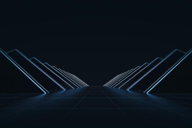 輝くネオンの光とグリッドラインパターンの背景と抽象的な未来。技術スタイル
