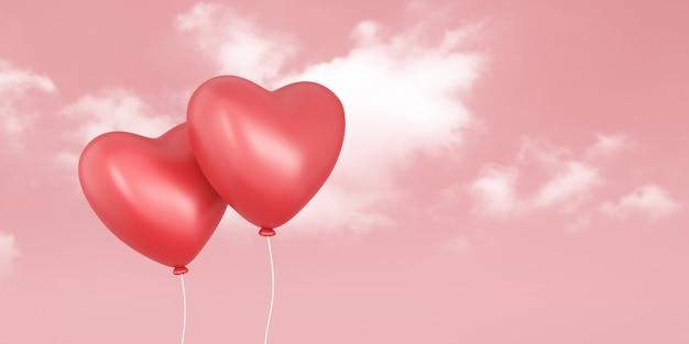 Пары красных воздушных шаров на небе влюбленности и розовой предпосылке с фестивалем дня валентинки. романтические сердца
