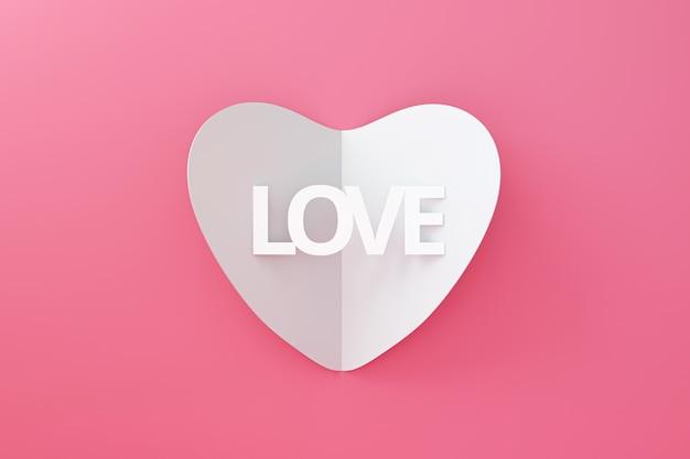 ホワイトハートの折り紙をポップアップし、幸せなバレンタインの背景に紙から作られたテキストが大好き