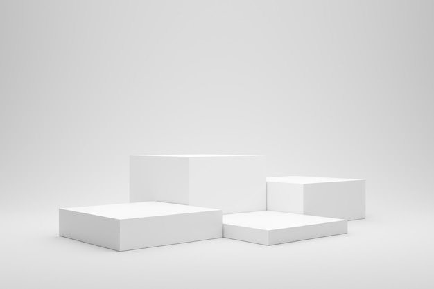 ボックススタンドの概念と白い背景の空の表彰台または台座の表示。レンダリング。