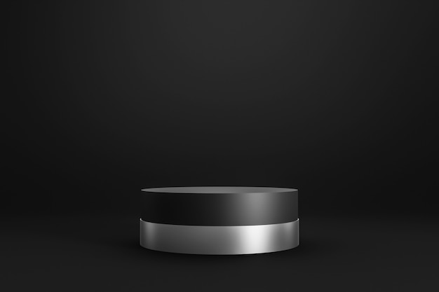 シリンダースタンドとシルバーリングの概念と暗い背景に黒い表彰台または台座ディスプレイ。