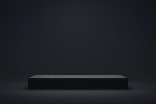 長いプラットフォームの暗い背景に黒い表彰台または台座ディスプレイ。