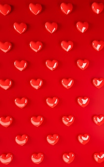 バレンタインデーハート背景パターン。太字の赤いフラットレイアウト。お祝いのグリーティングカード、ポスター、パーティーのバナーテンプレートが大好き