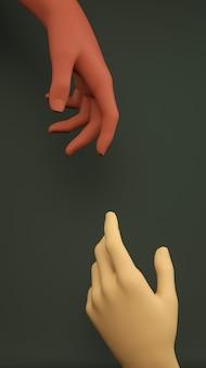 手を繋いでいるシーン。オーガニックなアースカラーの温かみのあるブラウン色。