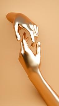 手を繋いでいるシーン。暖かいパステル調の黄金色の塗装肌