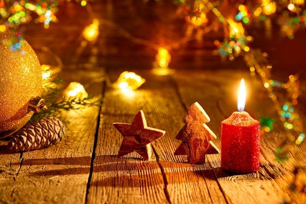 クリスマスツリーの星とキャンドルヴィンテージ