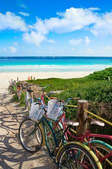 Тулум карибский пляжный велосипед ривьера майя