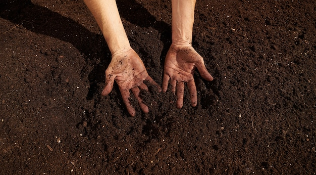 農夫男の手が下層に汚れた