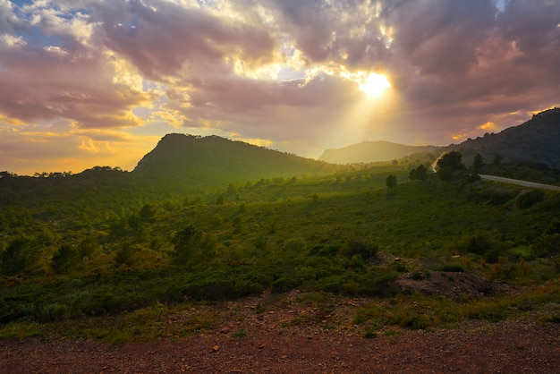 Закат пик гарби в кальдероне, сьерра-валенсия
