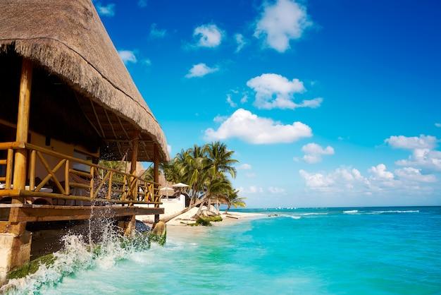 Пляж палапа плайя дель кармен в мексике