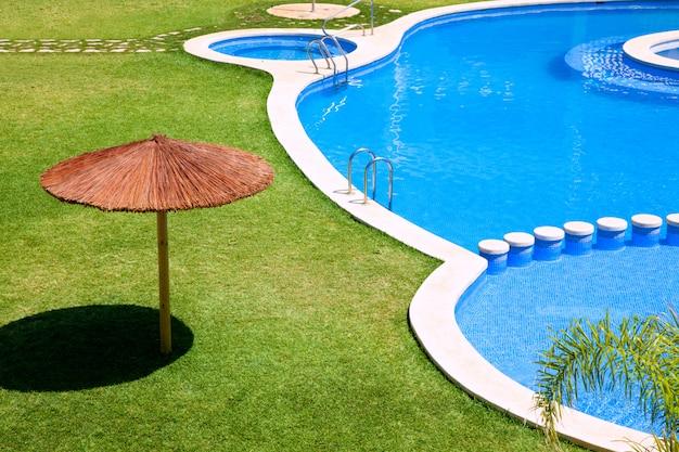 草とプールのある緑豊かな庭園