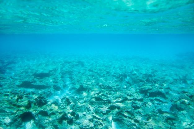 ターコイズブルーの海でイビサフォルメンテラ水中岩