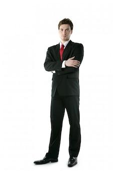 Полная длина костюм галстук бизнесмен позирует стенд