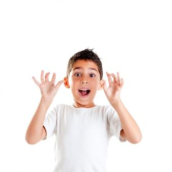 面白い表現ジェスチャーを持つ子供白で隔離される開いた手の指