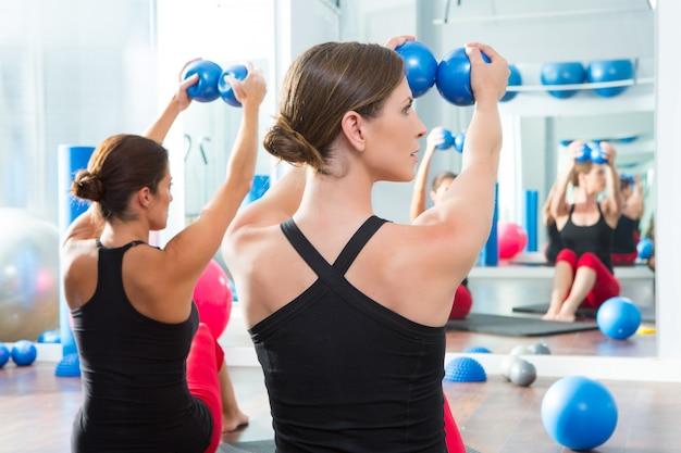 Синий тонирующий шарик в классе пилатес у женщин вид сзади