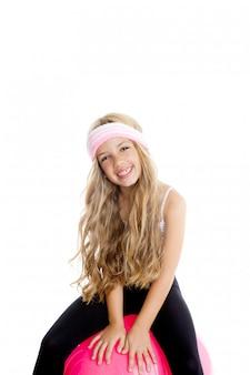 Детский тренажерный зал йога девушка с пилатес розовый шар