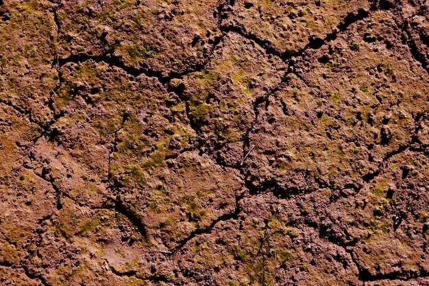オレンジブラウン色の乾燥したひびの入った赤い粘土自然土