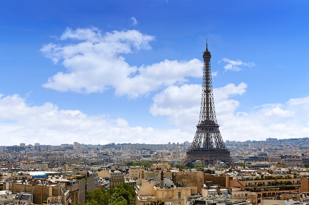 パリエッフェル塔とスカイライン空中フランス