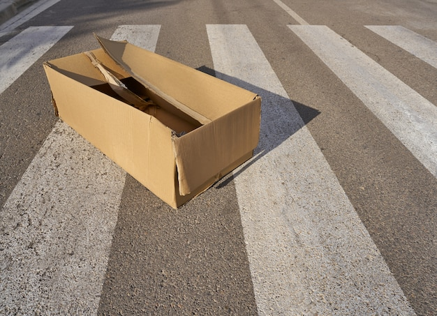 Картонная коробка мусора на пешеходном переходе
