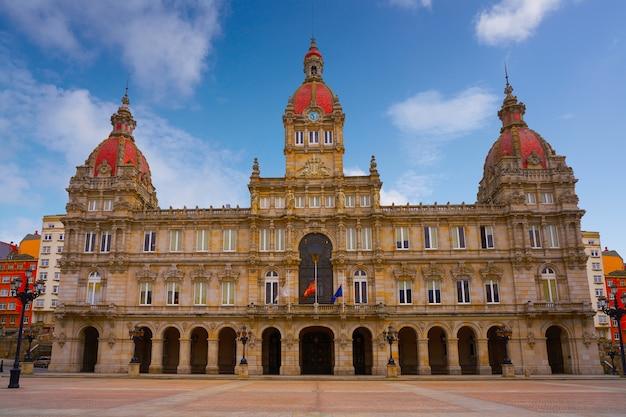 スペイン、ガリシアのマリア・ピタ広場のラ・コルーニャ市役所