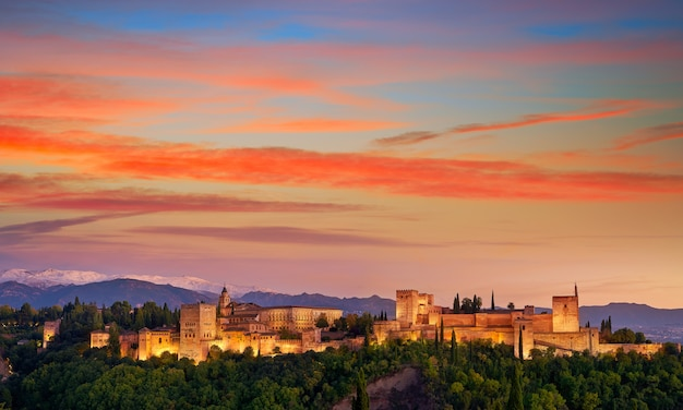 Альгамбра закат в гранаде испании