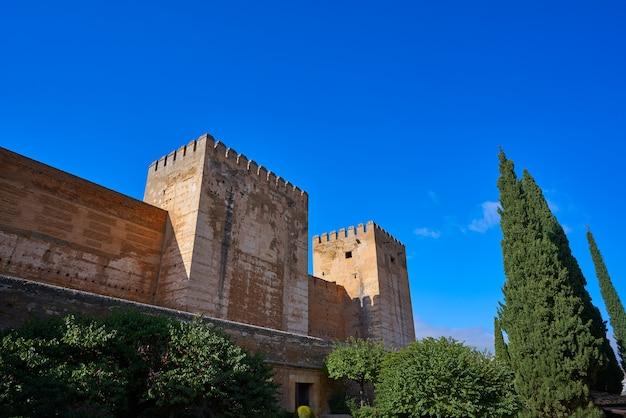 スペインのグラナダのアルハンブラ宮殿のアルカサバ